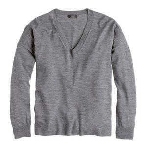 J Crew Knit Top Sweater Merino Wool Gray V Neck  M